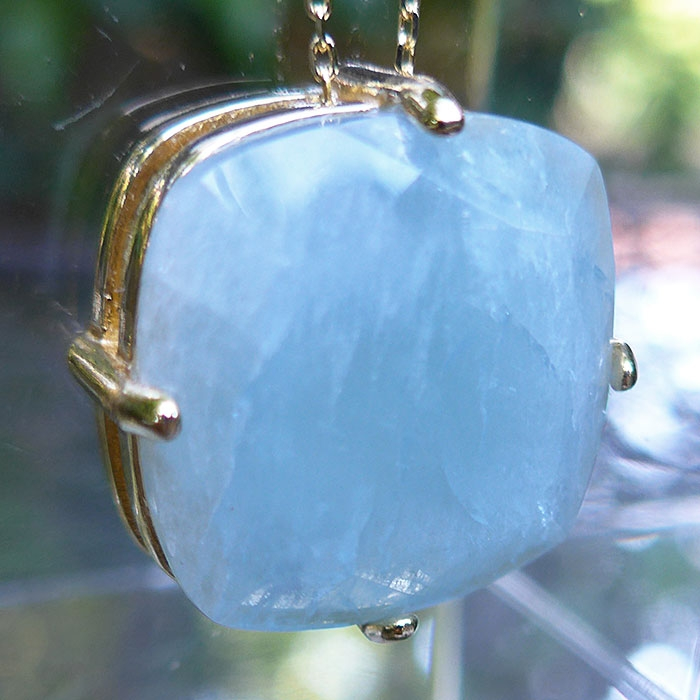Aquamarine Rectangle Pendant in 18ct Gold Plated Brass Chain