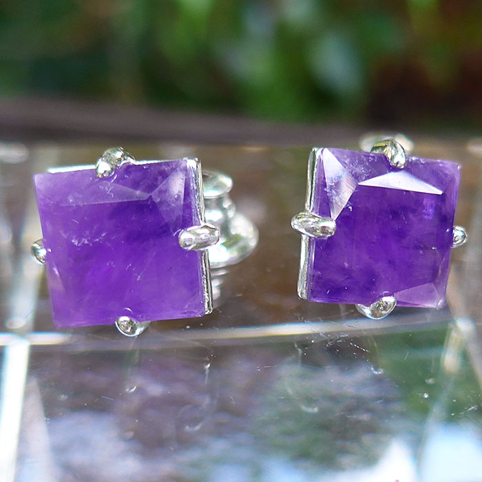 Brass Amethyst Square Stud Earrings