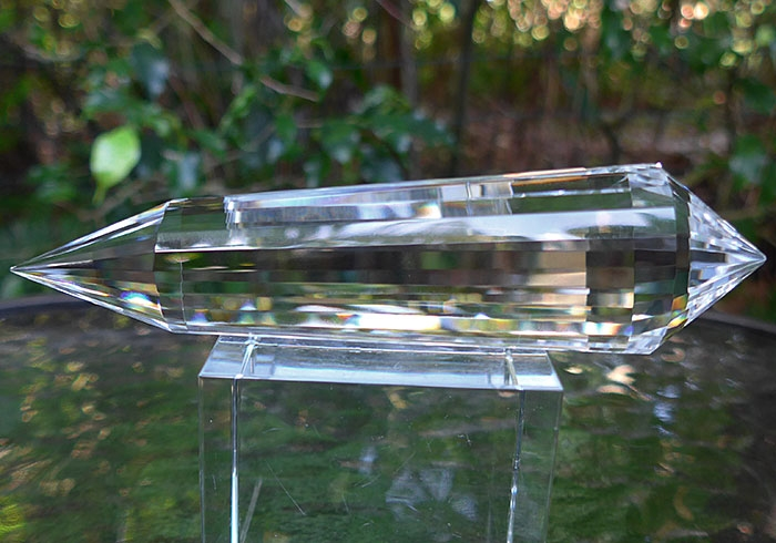 Water Clear Lab Quartz 24 Sided Vogel Phi Crystal Healing Wand