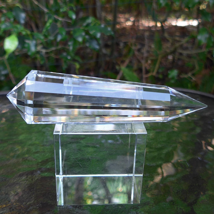Large Water Clear 16 Sided Vogel Phi Crystal Lab Quartz Healing Wand
